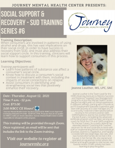 Image of event flyer with picture of speaker and her dog.